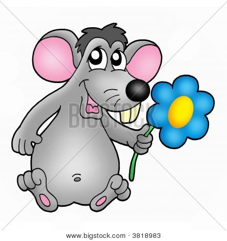Color illustration of small mouse with flower. poster