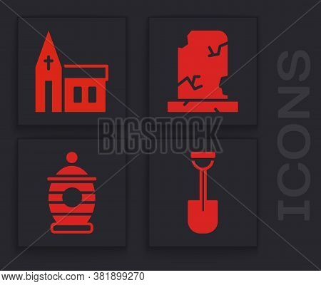 Set Shovel, Church Building, Old Grave With Tombstone And Funeral Urn Icon. Vector