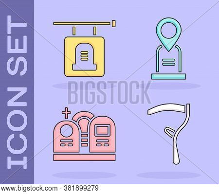 Set Scythe, Signboard Tombstone, Grave With Tombstone And Location Grave Icon. Vector