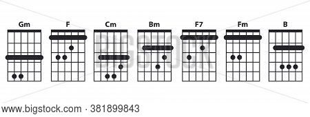 Guitar Chords Icon Set. Guitar Lesson Vector Illustration Isolated On White. Basic Chords Gm, F, Cm,