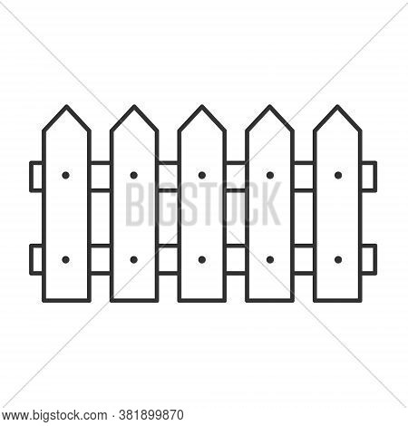 Black Fence Line Icon. Barrier Symbol Vector Isolated On White Background. Garden Or Farm Fence Silh