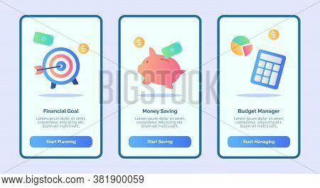 Financial Goal Money Saving Budget Manager For Mobile Apps Template Banner Page Ui With Three Variat