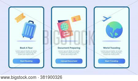 Traveling Book A Tour Document Preparing World Traveling For Mobile Apps Template Banner Page Ui Wit