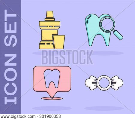 Set Candy, Mouthwash Plastic Bottle, Dental Clinic Location And Dental Search Icon. Vector
