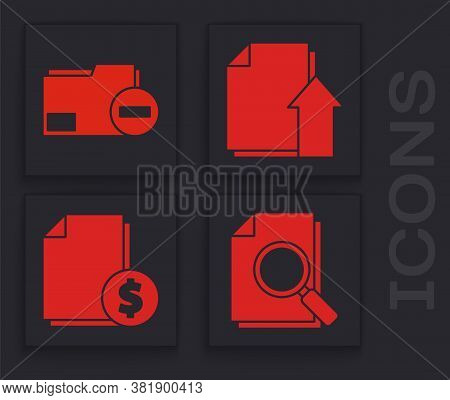 Set Document With Search, Document Folder With Minus, Upload File Document And Finance Document Icon