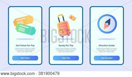 Trip Or Travel Concept With Ticket Luggage And Compass For Mobile Apps Template Banner Page Ui With