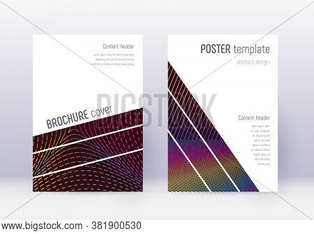 Geometric Cover Design Template Set. Rainbow Abstract Lines On Wine Red Background. Captivating Cove