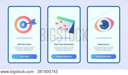 Set Your Goal Plan Your Schedule Keep Focus For Mobile Apps Template Banner Page Ui With Three Varia