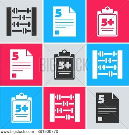 Set Abacus, Test Or Exam Sheet And Test Or Exam Sheet Icon. Vector