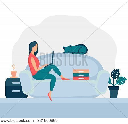 Girl Sitting In Armchair At Home. Woman With Laptop On The Chair. Freelance Or Studying Concept. Fem