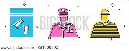 Set Evidence Bag And Bullet, Police Officer And Prisoner Icon. Vector