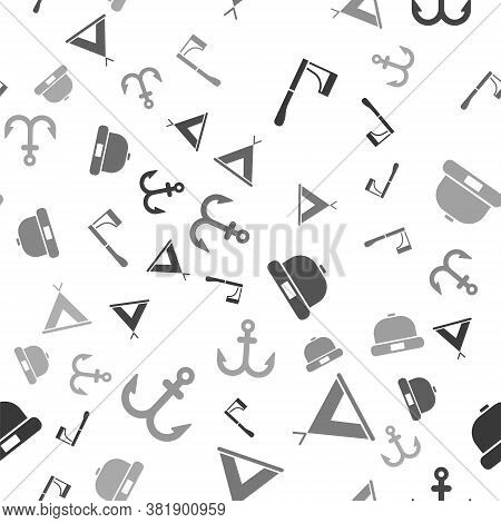 Set Wooden Axe, Tourist Tent, Beanie Hat And Anchor On Seamless Pattern. Vector