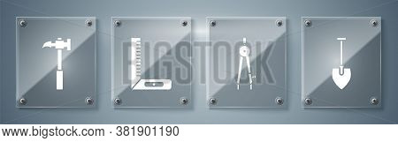 Set Shovel, Drawing Compass, Corner Ruler And Claw Hammer. Square Glass Panels. Vector