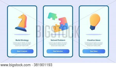 Build Strategy Solved Problem Creative Ideas For Mobile Apps Template Banner Page Ui With Three Vari