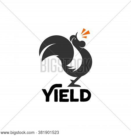 Rooster Logo Fun Modern Black Mascot Yield Icon Design For Business Idea