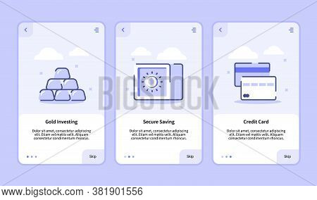 Gold Investing Secure Saving Credit Card Onboarding Screen For Mobile Apps Template Banner Page Ui W