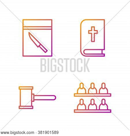 Set Line Jurors, Judge Gavel, Evidence Bag And Knife And Holy Bible Book. Gradient Color Icons. Vect