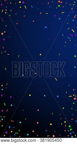 Festive Divine Confetti. Celebration Stars. Festive Confetti On Dark Blue Background. Fascinating Fe