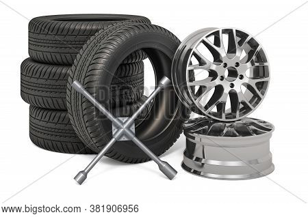 Tire Fitting Service Concept. Car Wheels And Rims With Lug Wrench, 3d Rendering Isolated On White Ba