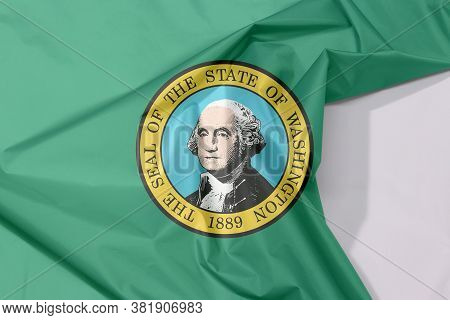 Washington Fabric Flag Crepe And Crease With White Space, The States Of America. The State Seal, Dis