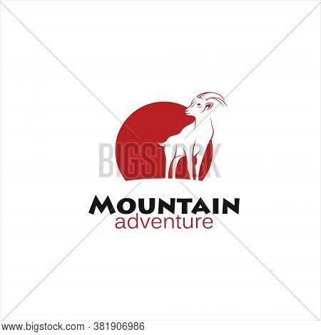 Mountain Goat Logo Design Flat Brown Simple Outline Illustration Animal Template Idea