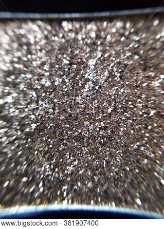 Gold Silver Eye Shadow Sparkle Metallic Shimmer Glitter Cosmetic Make-up Macro Photo