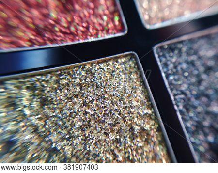Eye Shadow Palette Sparkle Metallic Shimmer Glitter Cosmetic Make-up Macro Photo
