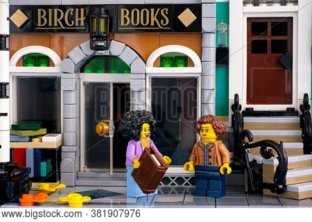 Tambov, Russian Federation - June 26, 2020 Two Lego Women Minifigures Speaking About Books Near Birc