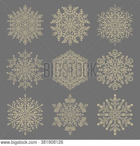 Set Of Vector Snowflakes. Golden Winter Ornaments. Snowflakes Collection. Snowflakes For Backgrounds