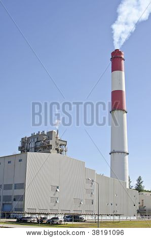 Fuel Oil Power Plant With Red Stack
