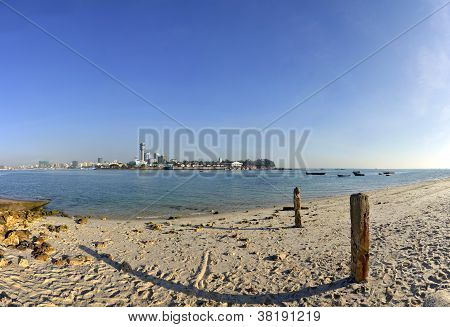 Panorama of Dar Es Salaam City Centre with waterfront and Clear Blue sky poster