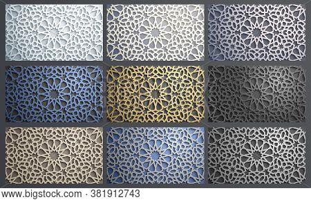 3d Vector Islamic Pattern Set Vector. Abstract 3d Arabic Ornament. Islamic Arabesque Ornament Backgr