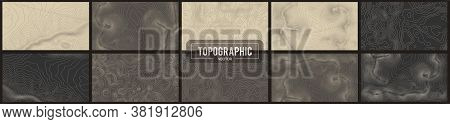 Set Of 10 Topographic Map Contour Backgrounds. Topo Map With Elevation. Contour Map Vector. Geograph