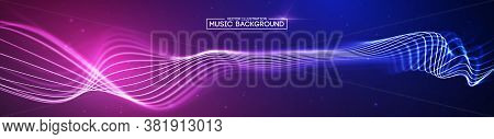 Music Abstract Background Blue. Equalizer For Music, Showing Sound Waves With Music Waves, Music Bac