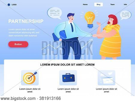 Partnership Flat Landing Page. Businesspersons Handshaking Web Page. Colorful Composition With Peopl