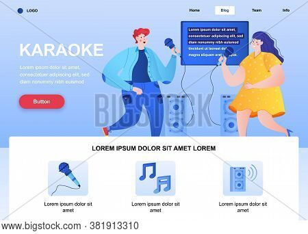 Karaoke Flat Landing Page. Happy Friends Singing Together With Microphones Web Page. Colorful Compos