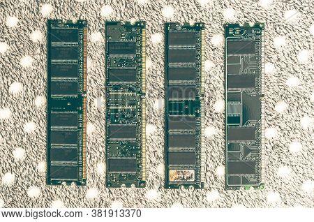 Computer Memory Ddr Sdram Module On Gray Carpet Background. Desktop Workstation Server Ram Memory Ch