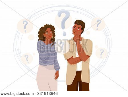 Young African American Couple Think About Problem. Question Symbol. Troubled Woman And Man Thinking