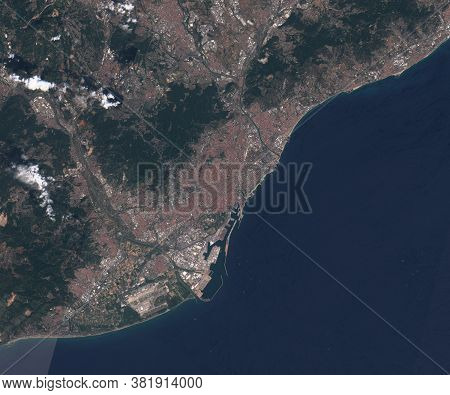 Satellite Map Of Barcelona Spain, View From Space. Contains Modified Copernicus Sentinel Data
