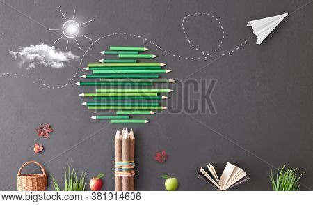 Green Pencil Tree With Paper Air Plane