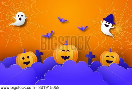 Happy Halloween Banner Or Poster Background With Night Clouds, Pumpkins,ghost And Bat In Paper Cut S