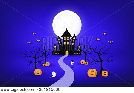 Happy Halloween Banner Or Poster Background With Big Moon And Silhouette Ghost Castle, Pumpkin, Bare