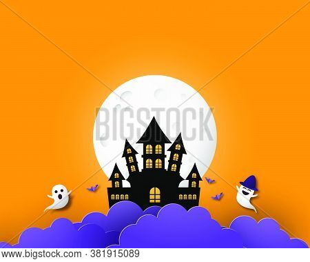 Happy Halloween Banner Or Poster Background With Big Moon, Night Clouds, Ghost And Castle In Paper C
