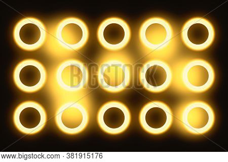 Studio Light. Gold Spotlights. Vintage Incandescent Bulbs In Retro Style. Lamps For Shooting A Movie
