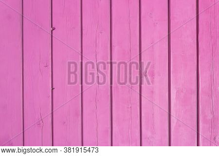 Pink Background Of Wooden Boards. Texture Of Pink Wooden Boards. Light Pink Surface Of Wooden Boards