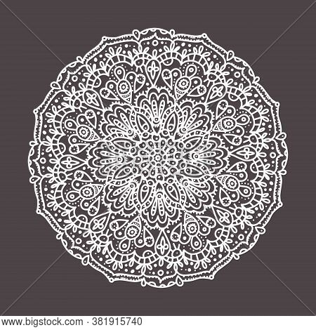 Vector Lace Doily, Round Print White Line Art On A Dark Background Isolated. Embroidery, Lace, Print