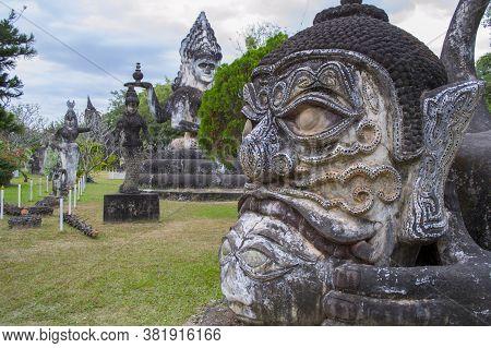 Sculptures In Buddha Park Or Xieng Khuan Park, Vientiane, Laos