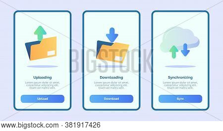 Uploading Downloading Synchronizing For Mobile Apps Template Banner Page Ui With Three Variations Mo