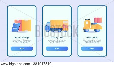 Delivery Package Delivery Truck Delivery Bike For Mobile Apps Template Banner Page Ui With Three Var