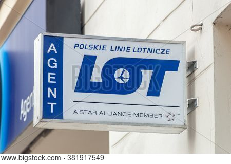 Rzeszow, Poland - June 13, 2020: Logo And Sign Of Lot Polish Airlines. Lot Is The Flag Carrier Of Po
